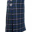 66 Inches Waist Size Traditional 8 Yard Handmade Scottish Kilt For Men - Blue Douglas Tartan