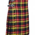 30 Inches Waist Size - Buchanan Tartan Traditional 8 Yard Handmade Scottish Kilt For Men