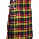 60 Inches Waist Size - Buchanan Tartan Traditional 8 Yard Handmade Scottish Kilt For Men