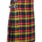 64 Inches Waist Size - Buchanan Tartan Traditional 8 Yard Handmade Scottish Kilt For Men