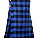 34 Inches Waist Traditional 8 Yard Handmade Scottish Kilt For Men - Buffalo Tartan
