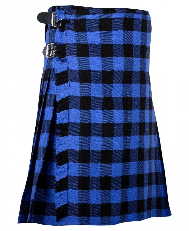 52 Inches Waist Traditional 8 Yard Handmade Scottish Kilt For Men - Buffalo Tartan