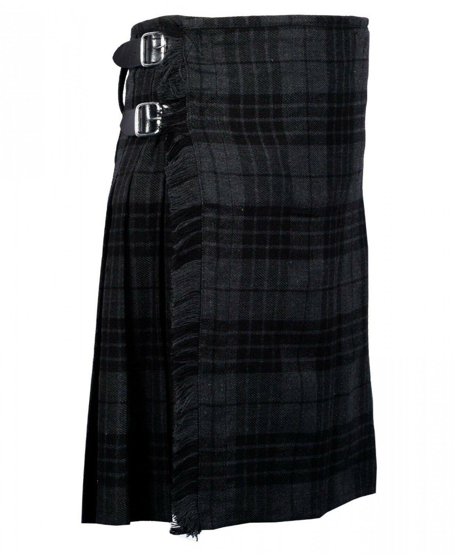 32 Inches Waist Traditional 8 Yard Handmade Scottish Kilt For Men - Grey Watch Modern Tartan