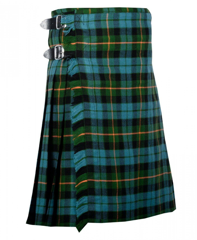 50 Inches Waist Traditional 8 Yard Handmade Scottish Kilt For Men - Gunn Ancient Turtan