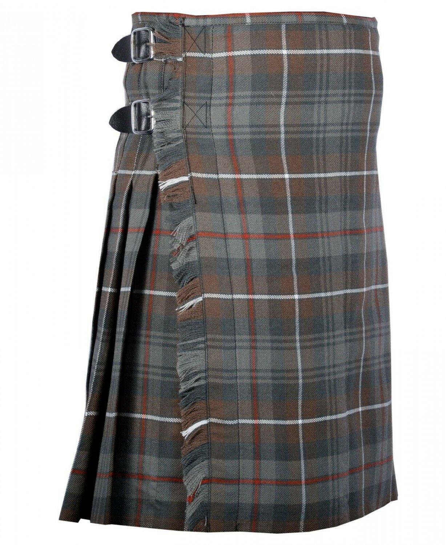 56 Inches Waist Traditional 8 Yard Handmade Scottish Kilt For Men - Mackenzie Weathered Tartan