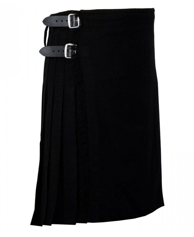 56 Inches Waist Traditional 8 Yard Handmade Scottish Kilt For Men - Plain Black Tartan