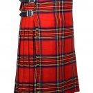 32 Inches Waist Traditional 8 Yard Handmade Scottish Kilt For Men - Royal Stewart Tartan