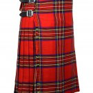 42 Inches Waist Traditional 8 Yard Handmade Scottish Kilt For Men - Royal Stewart Tartan