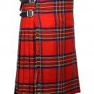44 Inches Waist Traditional 8 Yard Handmade Scottish Kilt For Men - Royal Stewart Tartan