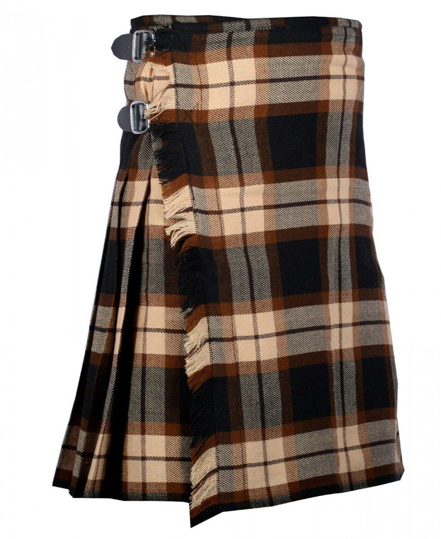 58 Inches Waist Traditional 8 Yard Handmade Scottish Kilt For Men - Rose Ancient Tartan