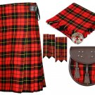 32 inches waist 8 Yard Traditional Scottish Plaid Kilt with Accessories - Wallace Tartan
