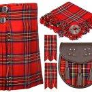 34 Inches Waist 8 Yard Traditional Scottish Plaid Kilt with Accessories - Royal Stewart Tartan