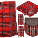 54 Inches Waist 8 Yard Traditional Scottish Plaid Kilt with Accessories - Royal Stewart Tartan