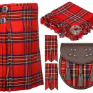 56 Inches Waist 8 Yard Traditional Scottish Plaid Kilt with Accessories - Royal Stewart Tartan
