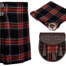 32 Inches Waist 8 Yard Traditional Scottish Plaid Kilt with Accessories - Black Stewart Tartan