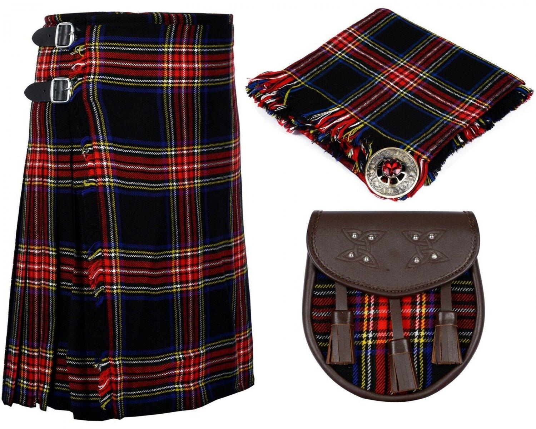 56 Inches Waist 8 Yard Traditional Scottish Plaid Kilt with Accessories - Black Stewart Tartan
