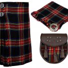 56 Inches Waist 8 Yard Traditional Scottish Plaid Kilt with Accessories - Black Stewart Tartan