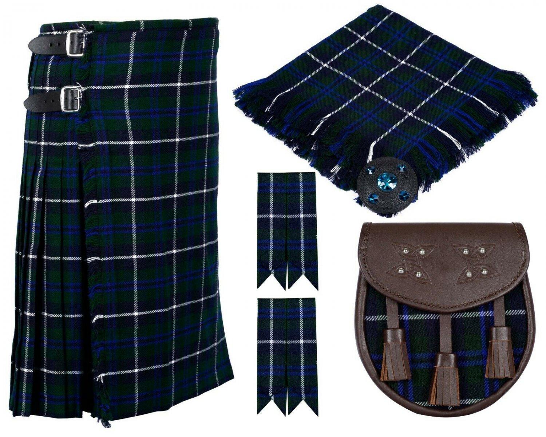 56 Inches Waist 8 Yard Traditional Scottish Plaid Kilt with Accessories - Blue Douglas Tartan