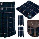 58 Inches Waist 8 Yard Traditional Scottish Plaid Kilt with Accessories - Blue Douglas Tartan