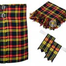 34 Inches Waist 8 Yard Traditional Scottish Plaid Kilt with Accessories - Buchnan Tartan