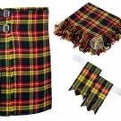 36 Inches Waist 8 Yard Traditional Scottish Plaid Kilt with Accessories - Buchnan Tartan