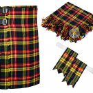 38 Inches Waist 8 Yard Traditional Scottish Plaid Kilt with Accessories - Buchnan Tartan