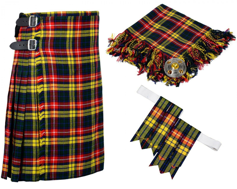48 Inches Waist 8 Yard Traditional Scottish Plaid Kilt with Accessories - Buchnan Tartan