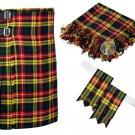 52 Inches Waist 8 Yard Traditional Scottish Plaid Kilt with Accessories - Buchnan Tartan