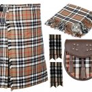 50 Inches Waist 8 Yard Traditional Scottish Tartan Kilt with Accessories - Campbell of Thompson
