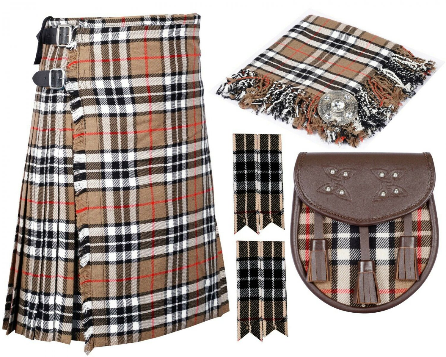 60 Inches Waist 8 Yard Traditional Scottish Tartan Kilt with Accessories - Campbell of Thompson