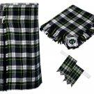 44 Inches Waist 8 Yard Traditional Scottish Tartan Kilt with Accessories - Dress Gordon Tartan