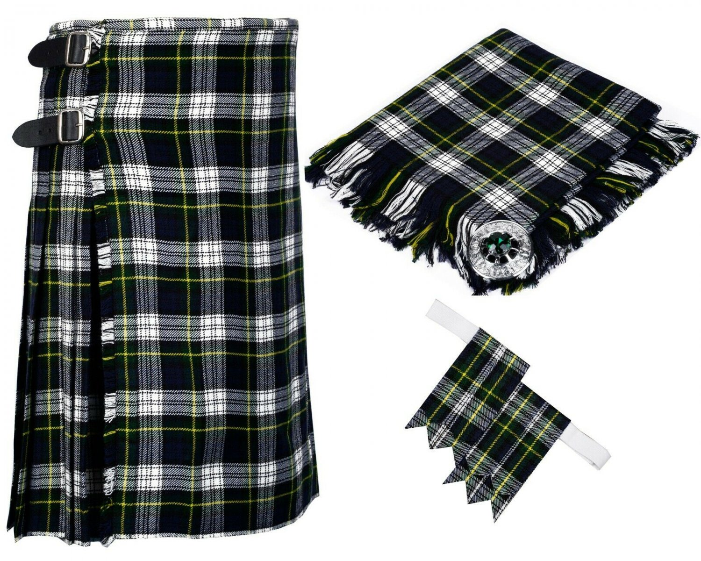 54 Inches Waist 8 Yard Traditional Scottish Tartan Kilt with Accessories - Dress Gordon Tartan