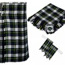 54 Inches Waist 8 Yard Traditional Scottish Tartan Kilt with Accessories - Dress Gordon Tartan