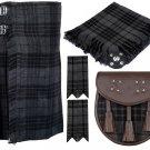 52 Inches Waist 8 Yard Traditional Scottish Plaid Kilt with Accessories - Grey Watch Tartan