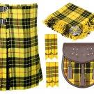 34 Inches Waist 8 Yard Traditional Scottish Plaid Kilt with Accessories - Macleod Tartan