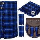42 Inches Waist 8 Yard Traditional Scottish Tartan Kilt with Accessories - Ramsey Blue Tartan