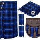 56 Inches Waist 8 Yard Traditional Scottish Tartan Kilt with Accessories - Ramsey Blue Tartan