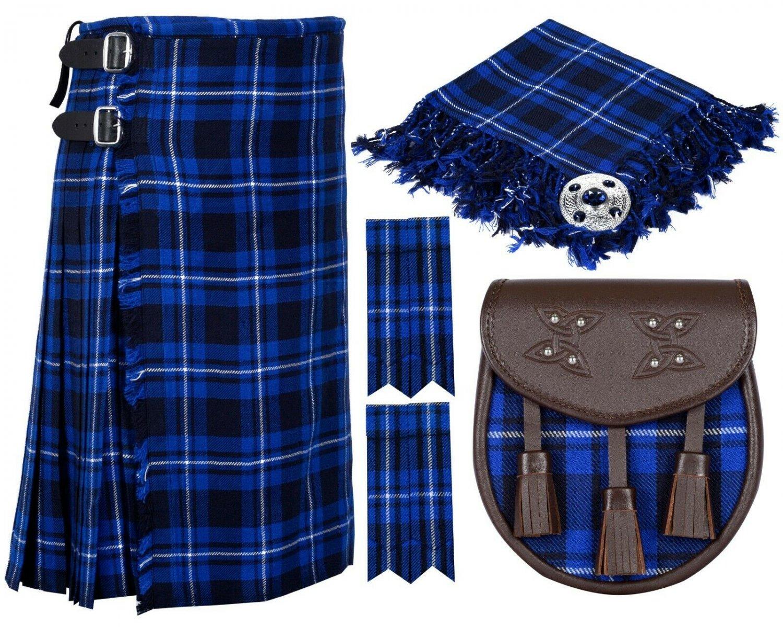 60 Inches Waist 8 Yard Traditional Scottish Tartan Kilt with Accessories - Ramsey Blue Tartan