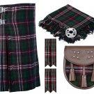 30 Inches Waist 8 Yard Traditional Scottish Tartan Kilt with Accessories - Scottish National