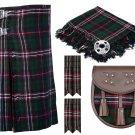 42 Inches Waist 8 Yard Traditional Scottish Tartan Kilt with Accessories - Scottish National