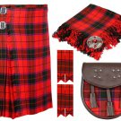 34 Inches Waist 8 Yard Traditional Scottish Tartan Kilt with Accessories - Scottish Rose
