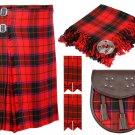 42 Inches Waist 8 Yard Traditional Scottish Tartan Kilt with Accessories - Scottish Rose