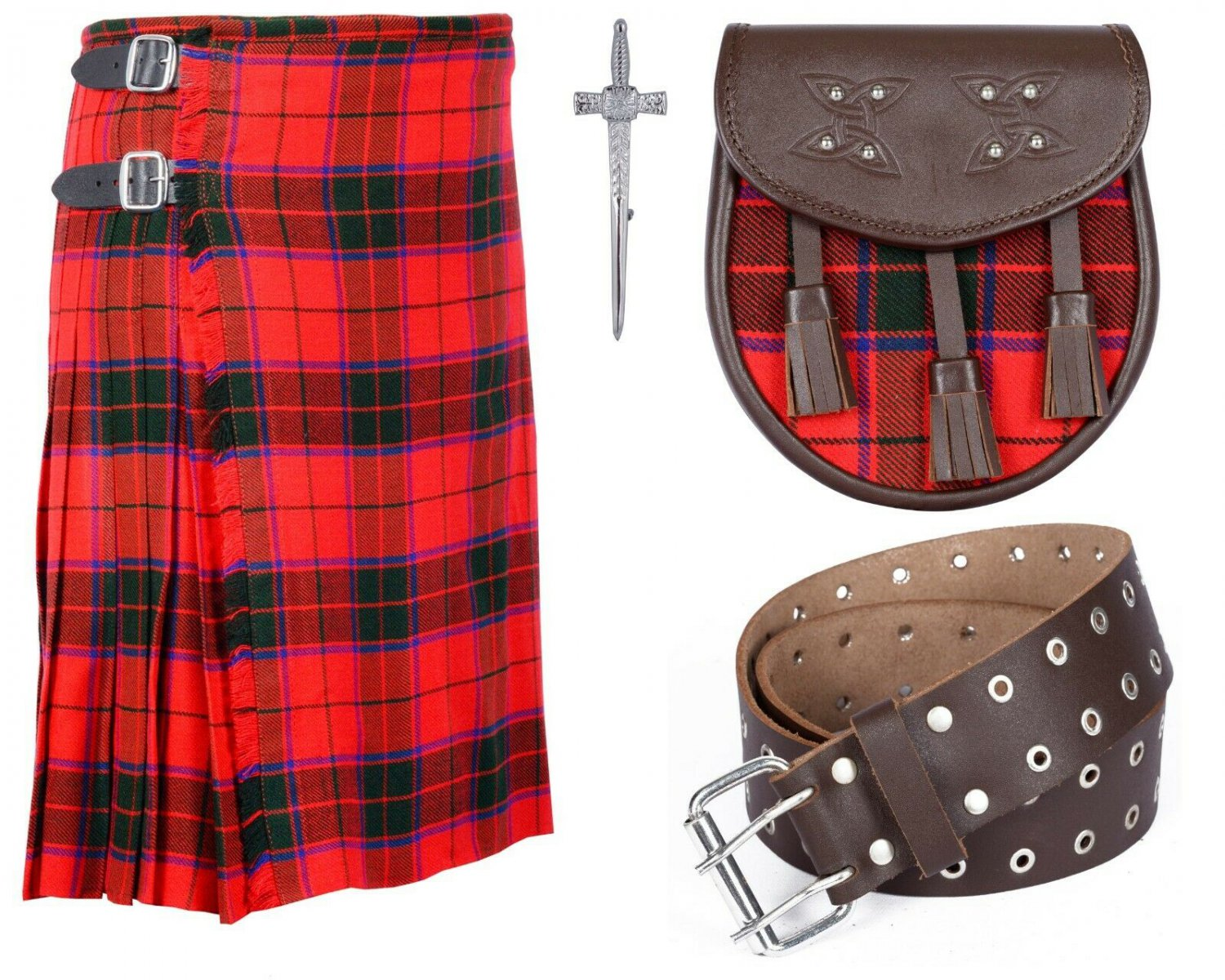 50 Inches Waist 8 Yard Traditional Scottish Rose Tartan Kilt with Leather Belt and Sporran