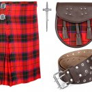 54 Inches Waist 8 Yard Traditional Scottish Rose Tartan Kilt with Leather Belt and Sporran