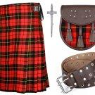 34 Inches Waist 8 Yard Traditional Wallace Tartan Kilt with Leather Belt, Kilt Pin and Sporran