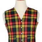 34 Inches Chest New Handmade Traditional Scottish 5 Buttons Tartan Waistcoat Buchanan