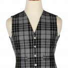 54 Inches Chest New Handmade Traditional Scottish 5 Buttons Tartan Waistcoat Grey Watch