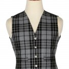 60 Inches Chest New Handmade Traditional Scottish 5 Buttons Tartan Waistcoat Grey Watch