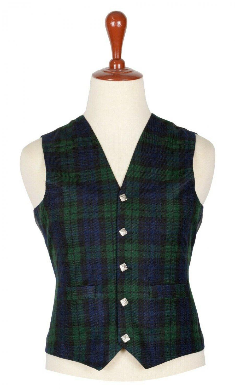 32 Inches Chest New Handmade Traditional Scottish 5 Buttons Tartan Waistcoat Black Watch