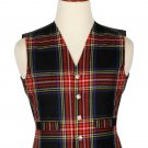 34 Inches Chest New Handmade Traditional Scottish 5 Buttons Tartan Waistcoat Black Steward